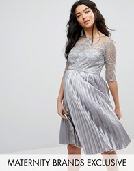 Chi Chi Maternity London Lace Embroidered Bodice Dress With Pleated Skirt Grey