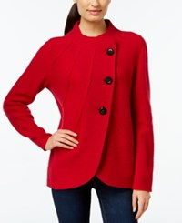 Jm Collection Curved Hem Wool Sweater Coat Only At Macy's New Red Amore