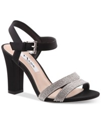 Nina Sylvie Block Heel Evening Sandals Women's Shoes Black