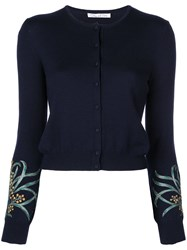 Oscar De La Renta Embroidered Cuff Cardigan Black
