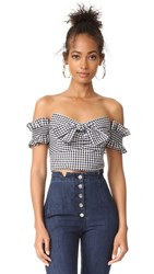 Wayf Rayan Off Shoulder Top Black White Gingham