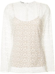 Stella Mccartney Layered Lace Top Women Cotton Polyester 40 Nude Neutrals