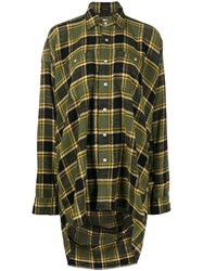 R 13 R13 Oversized Plaid Shirt Green
