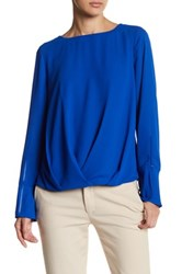 Vince Camuto Long Sleeve Fold Over Blouse Blue