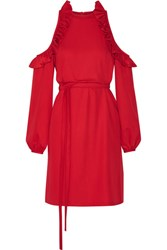 Paskal Cutout Ruffle Trimmed Brushed Twill Dress Red