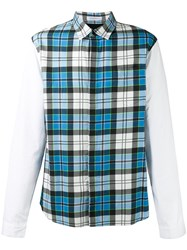 J.W.Anderson Panelled Checked Shirt Turquoise
