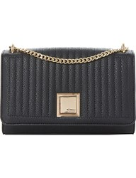 Dune Quilted Clutch Bag Black Plain Synthetic