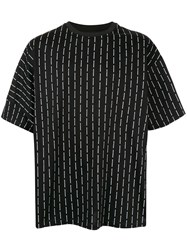Wooyoungmi Logo Stripe Oversized T Shirt Black