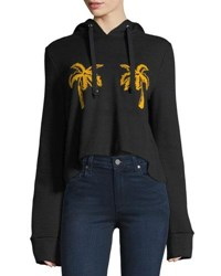 A.L.C. Valerie Hooded Palm Embroidered Sweatshirt Black