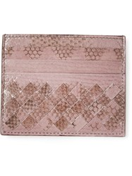 Bottega Veneta Woven Card Holder Pink And Purple