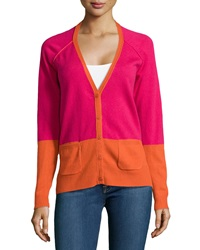 Michael Stars Colorblock V Neck Cardigan Bright Pink Burnt Orange