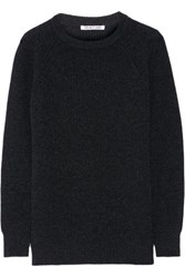 Helmut Lang Ribbed Wool And Cashmere Blend Sweater Charcoal