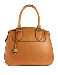 London Fog Kensington Vegan Leather Satchel Cognac