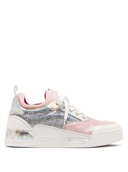 Christian Louboutin Aurelien Holographic Glitter Trainers Pink Silver