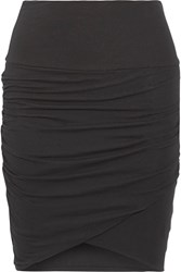 James Perse Ruched Stretch Cotton Jersey Mini Skirt Black