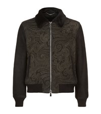 Billionaire Paisley Print Shearling Jacket Male Chocolate