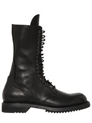 Rick Owens 30Mm Side Zip Leather High Army Boots