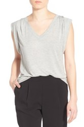 Trouve Shoulder Pleat Sleeveless Tee Gray