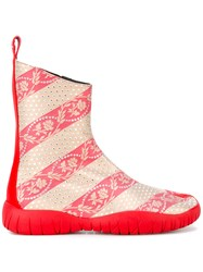 Maison Martin Margiela Striped Floral Boots Red
