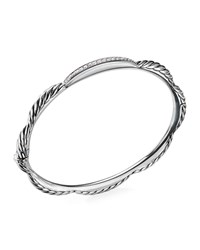 David Yurman Tides Diamond And Cable Single Row Bracelet White Silver