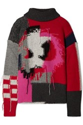 Mcq By Alexander Mcqueen Monster Patchwork Intarsia Wool Blend Turtleneck Sweater Gray