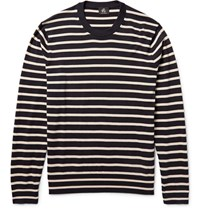 Paul Smith Ps By Striped Cotton Sweater Midnight Blue