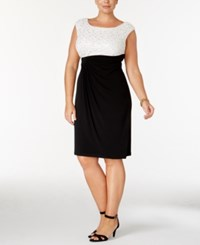 Connected Plus Size Boat Neck Lace Dress Ivory Black