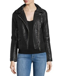 Dex Long Sleeve Faux Leather Jacket Black