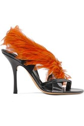 Dries Van Noten Feather Embellished Pvc And Leather Sandals Brown