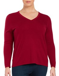 Lord And Taylor Plus Merino Wool V Neck Sweater Geranium