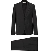Saint Laurent Slim Fit Mohair And Wool Blend Suit Black