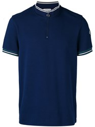 Moncler Zip Top Polo Shirt Blue