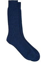 Barneys New York Men's Cable Knit Mid Calf Socks Blue