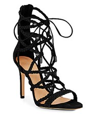 Schutz Glenna Braided Suede Lace Up Sandals Black