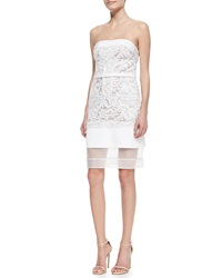 J. Mendel Strapless Floral Lace Dress With Sheer Hem White