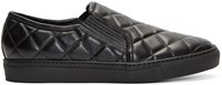 Balmain Black Leather Quilted Slip On Sneakers