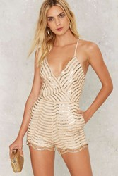 Sequin You Shall Find Plunging Romper Gold