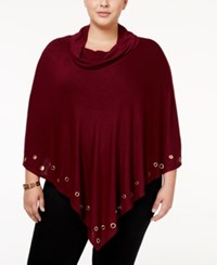 Belldini Plus Size Embellished Cowl Neck Poncho Black Cherry Gold
