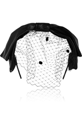 Eugenia Kim Carmel Glossed Leather And Tulle Bow Headband Black