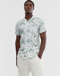 Selected Homme Floral Graphic Print Revere Collar Short Sleeve Shirt In White