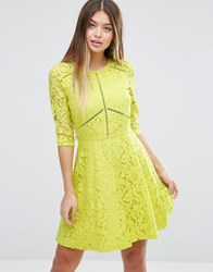 Asos Skater Dress In Lace With Ladder Trim Chartreuse Yellow