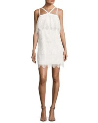 Likely Abergreen Embroidered Organza Mini Dress White