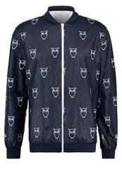 Knowledge Cotton Apparel Catalina Bomber Jacket Total Eclipse Dark Blue