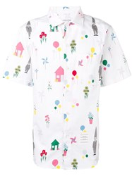 Thom Browne Gnome Print Polo Collar Shirt White