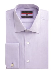 Pierre Cardin Herringbone Classic Fit Long Sleeve Shirt Lilac
