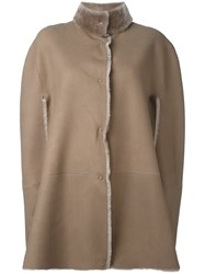 Giorgio Brato Shearling Cape Brown