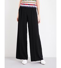Mary Katrantzou Mid Rise Wide Leg Crepe Trousers Black