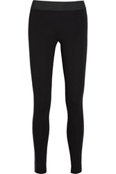 Michael Michael Kors Faux Leather Trimmed Stretch Ponte Leggings Black