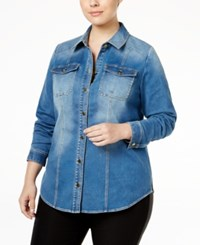 Inc International Concepts Plus Size Denim Shirt Only At Macy's Indigo