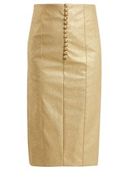 Hillier Bartley Metallic Buttoned Faux Leather Pencil Skirt Gold